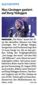Max Giesinger singt auf Burg Nideggen
